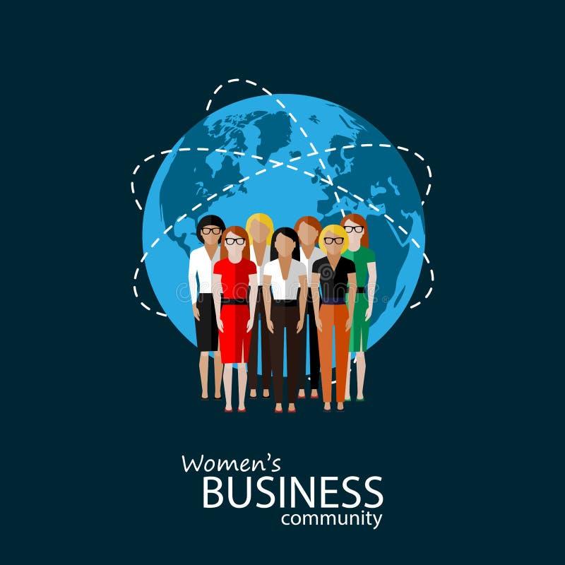 Ejemplo plano de la comunidad empresarial de las mujeres un grupo de ilustración del vector