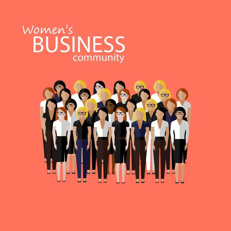 Ejemplo plano de la comunidad empresarial de las mujeres un grupo grande de mujeres o de políticos de negocios cumbre o imagen de libre illustration