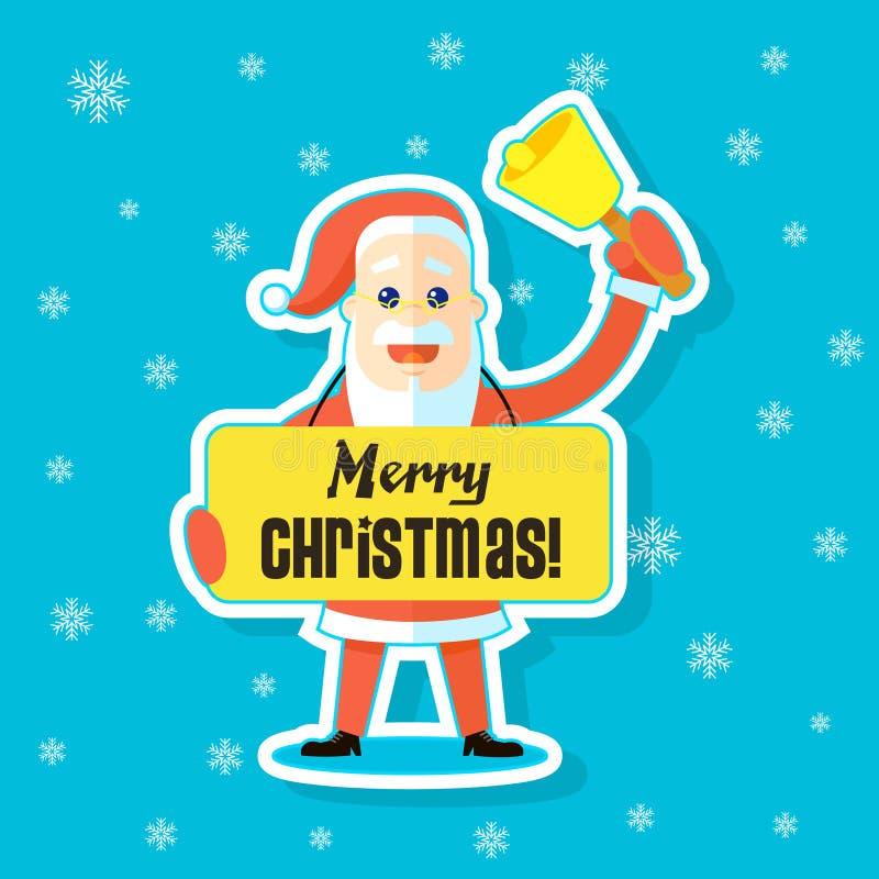 Ejemplo plano de la etiqueta engomada del arte de una historieta Santa Claus con una Feliz Navidad de saludo de la bandera libre illustration