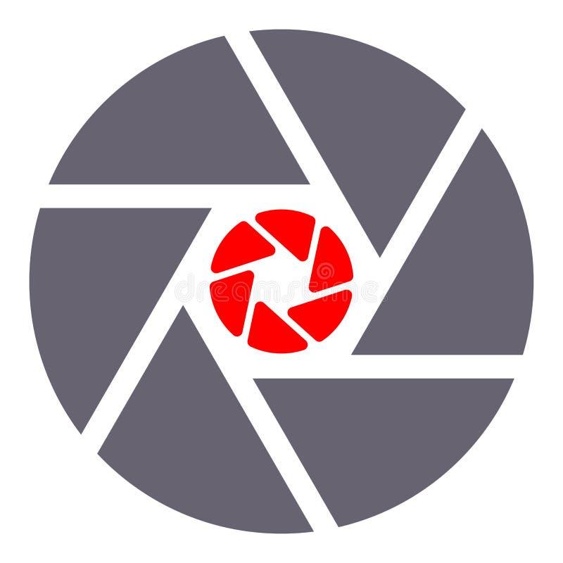 Ejemplo plano de la fotografía de la abertura de la cámara digital simple del icono Muestra y símbolo de la foto y del obturador  ilustración del vector