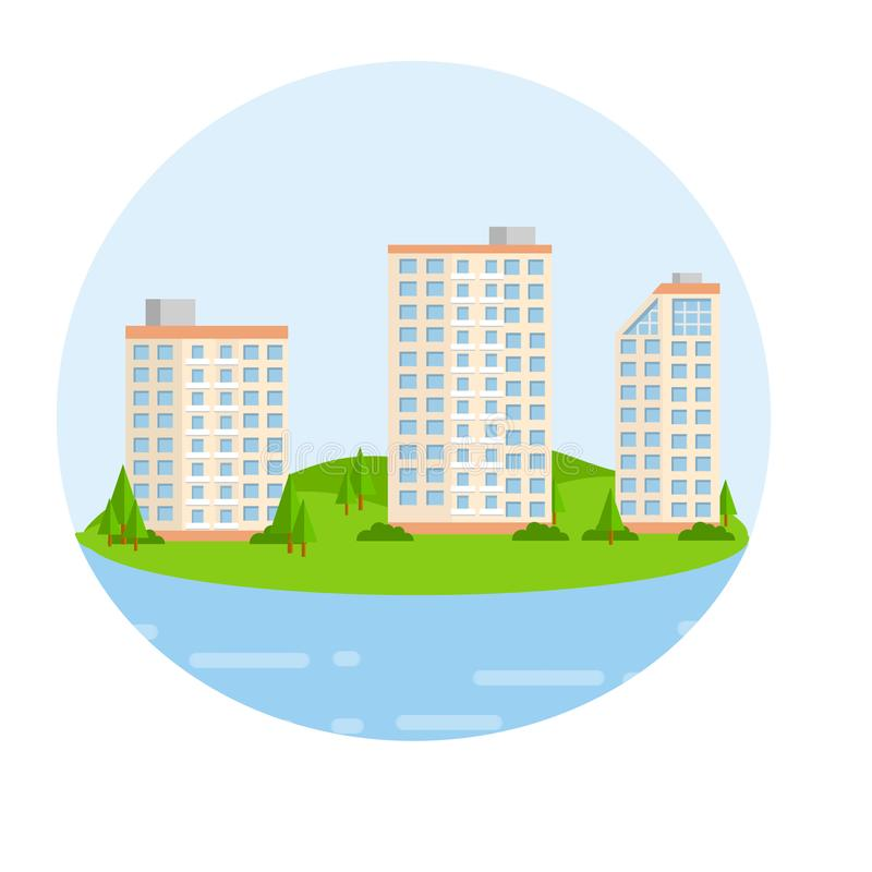 Ejemplo plano de la historieta - alto edificio hermoso en la playa ilustración del vector