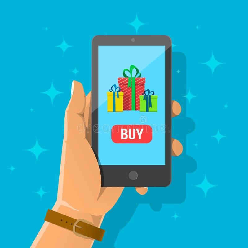 Ejemplo plano de la historieta de la mano que celebra smartphone imágenes de archivo libres de regalías