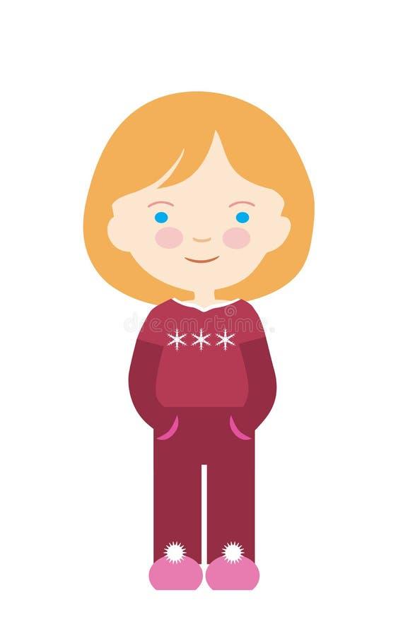Ejemplo plano de la historieta del diseño de niñas con el pelo rubio y los ojos azules Suéter rojo con los copos de nieve Aislado libre illustration