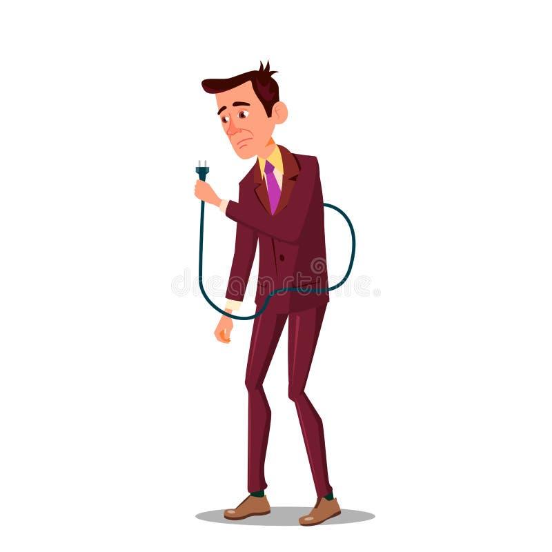 Ejemplo plano de la historieta del hombre de negocios del vector disponible cansado triste de Holding Power Cord stock de ilustración