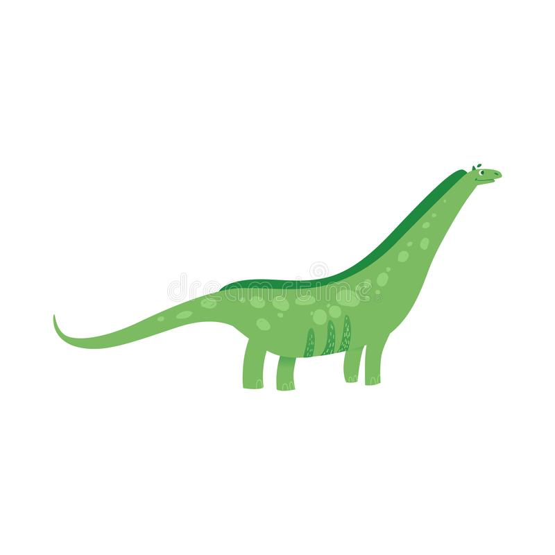 Ejemplo plano de la historieta necked larga divertida del dinosaurio aislado en el fondo blanco libre illustration