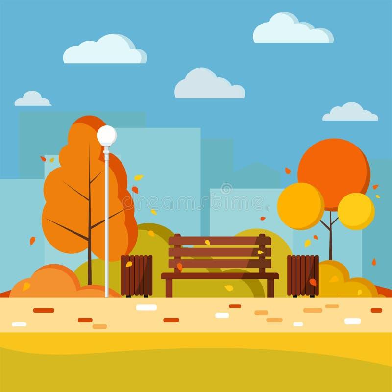 Ejemplo plano de la naturaleza del día del otoño del vector urbano del fondo en estilo de la historieta ilustración del vector