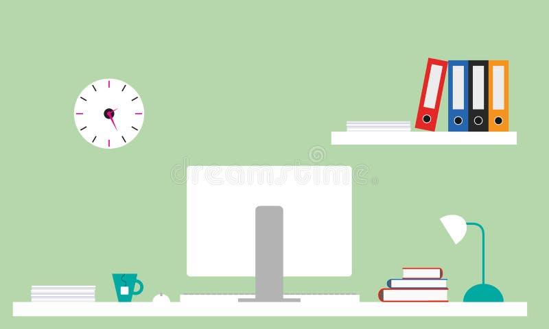 Ejemplo plano de la oficina conceptora con el escritorio blanco, ordenador con m stock de ilustración
