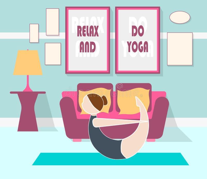 Ejemplo plano de la yoga en casa ilustración del vector