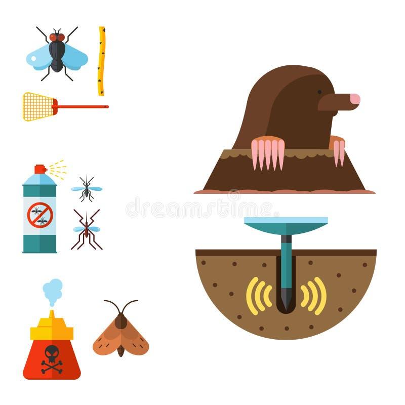 Ejemplo plano de los iconos del parásito de insecto de vector del control de los bichos del exterminador del servicio del parásit stock de ilustración