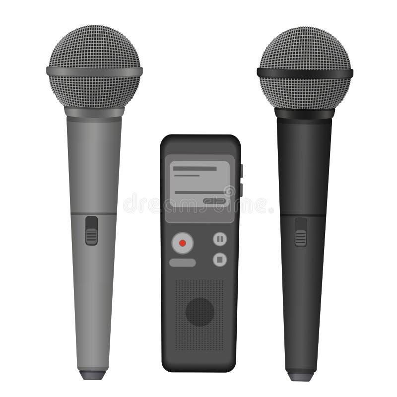 Ejemplo plano de los iconos del vector del micrófono y del dictáfono Equipo audio de la tecnología stock de ilustración