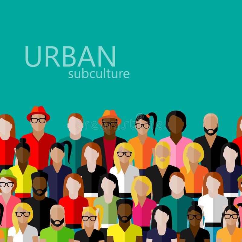 Ejemplo plano de los miembros de la sociedad con un grupo grande de hombres y de mujeres población concepto urbano del subcultivo libre illustration