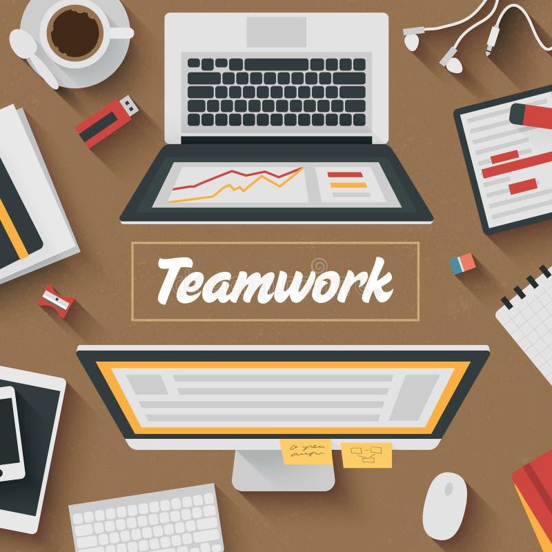 Ejemplo plano de moda del diseño: Trabajo en equipo libre illustration