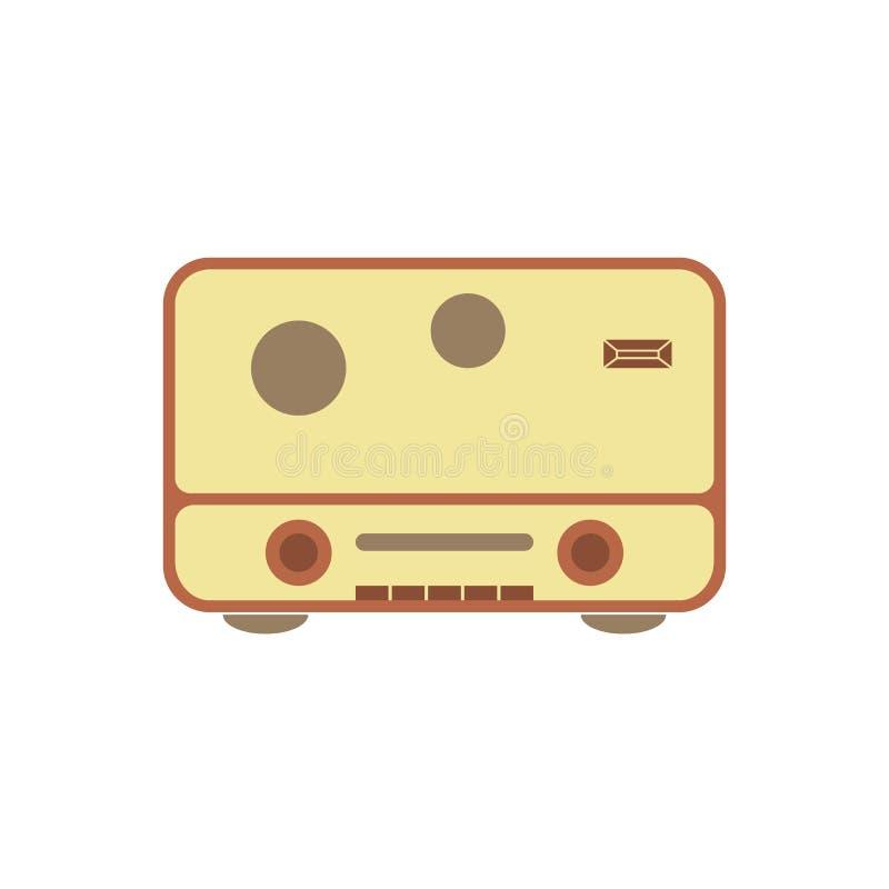 Ejemplo plano de radio retro del diseño del vector del icono libre illustration