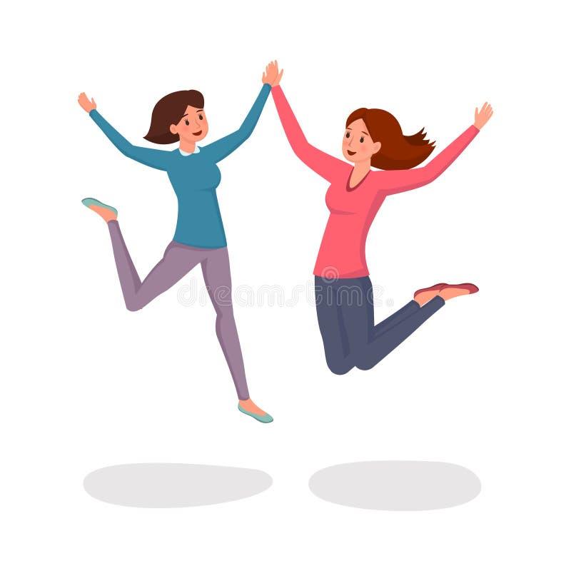 Ejemplo plano de salto del vector de las muchachas Empleados de oficina alegres en estilo sport, amigos, hermanas, colegas, histo ilustración del vector