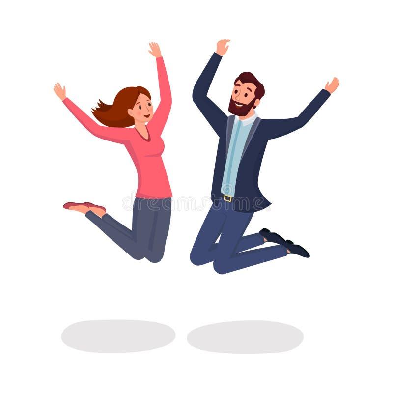 Ejemplo plano de salto del vector de los colegas Dos amigos, hombre y mujer saltando en el entusiasmo y personajes de dibujos ani ilustración del vector