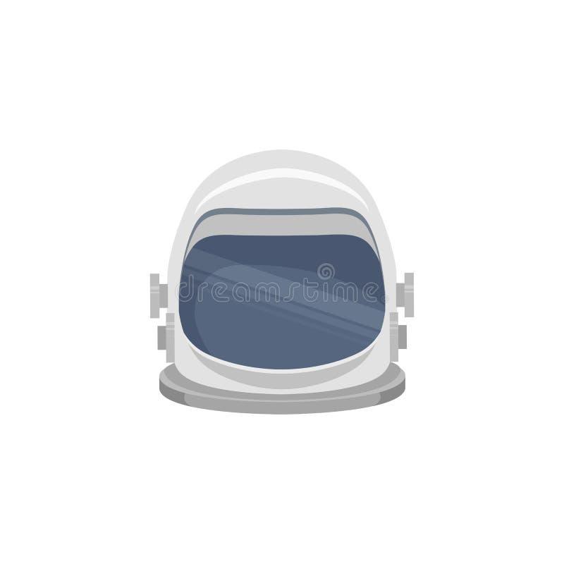 Ejemplo plano de un casco del astronauta Front View Turismo de espacio El objeto est? a parte del fondo Elemento del vector stock de ilustración