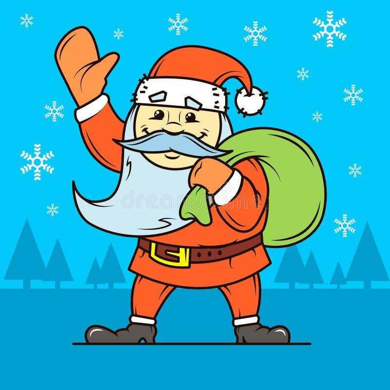 Ejemplo plano del arte del vector simple de la historieta Santa Claus con un bolso de regalos stock de ilustración