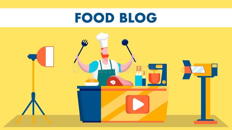 Ejemplo plano del blog de la comida de la etapa video del tiroteo stock de ilustración