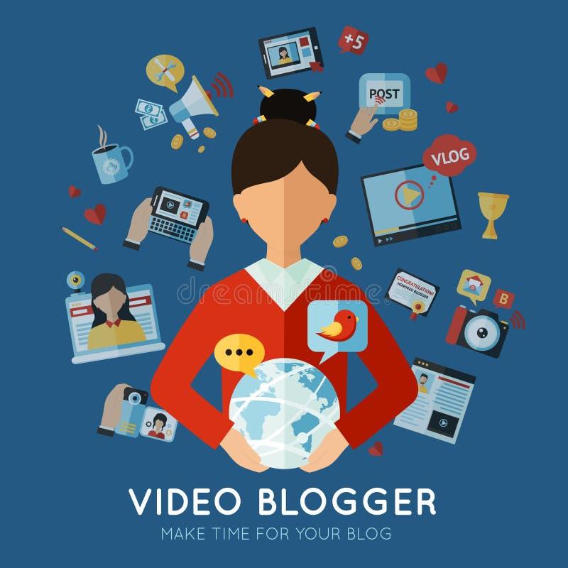 Ejemplo plano del Blogger stock de ilustración