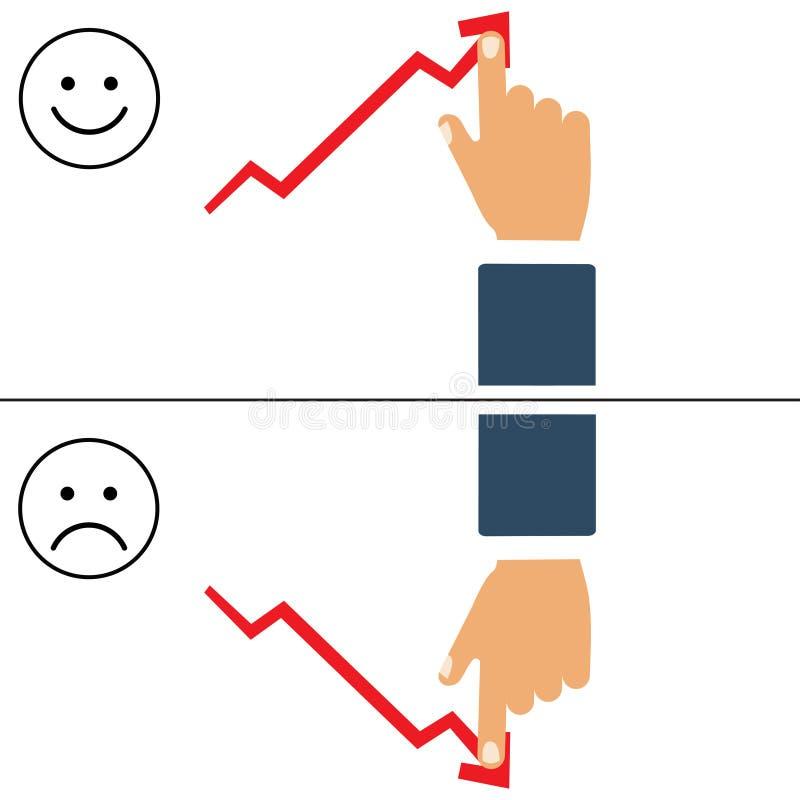 Ejemplo plano del buenos y malos gráfico y mano de negocio Flecha del crecimiento del empuje del hombre de negocios para mejorar  libre illustration
