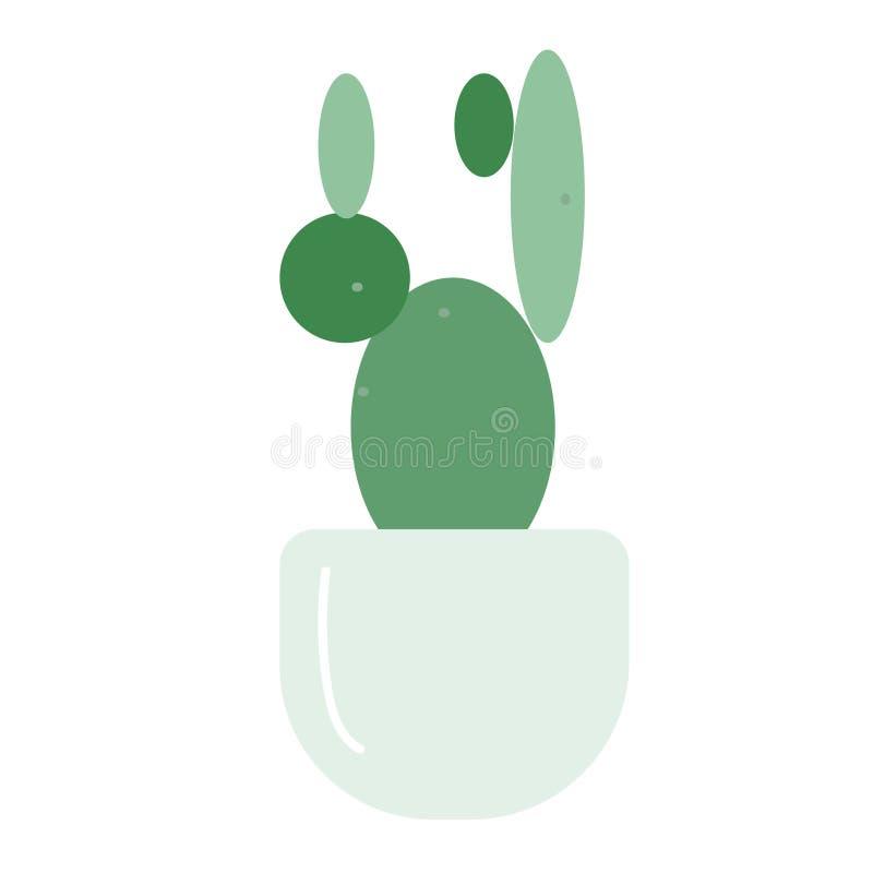 Ejemplo plano del cactus en blanco stock de ilustración