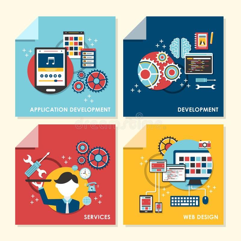 Ejemplo plano del concepto de diseño para el diseño web y el desarrollo ilustración del vector