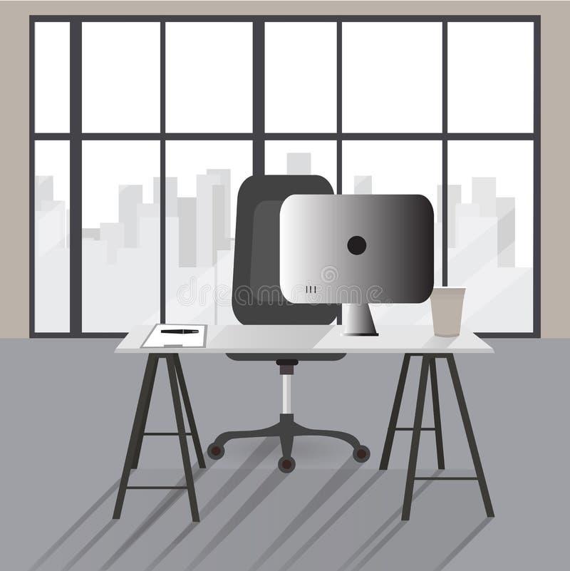 Ejemplo plano del concepto de la oficina E stock de ilustración