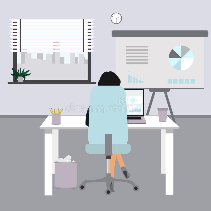 Ejemplo plano del concepto de la oficina Mujer de negocios en oficina Ilustrador del vector libre illustration