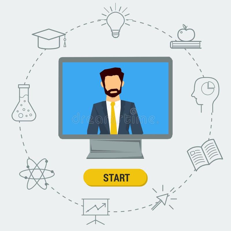 Ejemplo plano del conferenciante en el monitor ilustración del vector