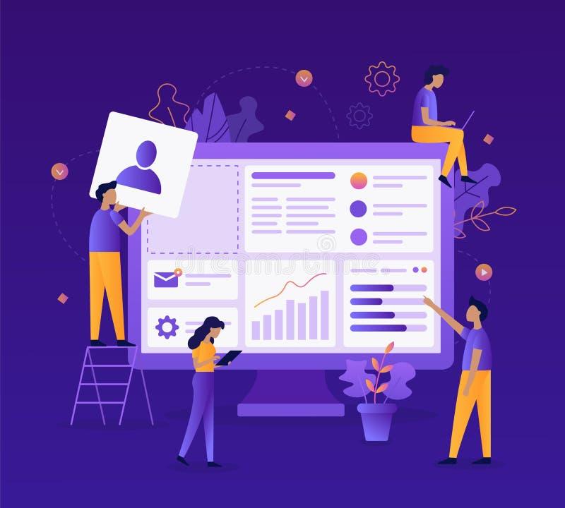 Ejemplo plano del desarrollo web stock de ilustración