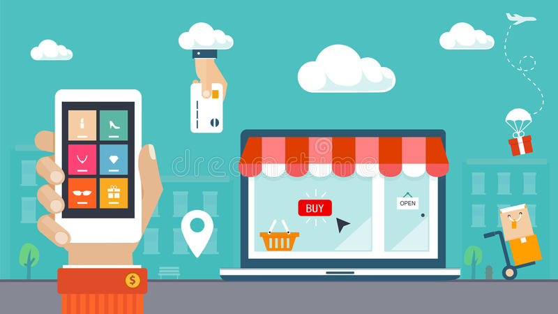 Ejemplo plano del diseño. Comercio electrónico, compras y entrega stock de ilustración
