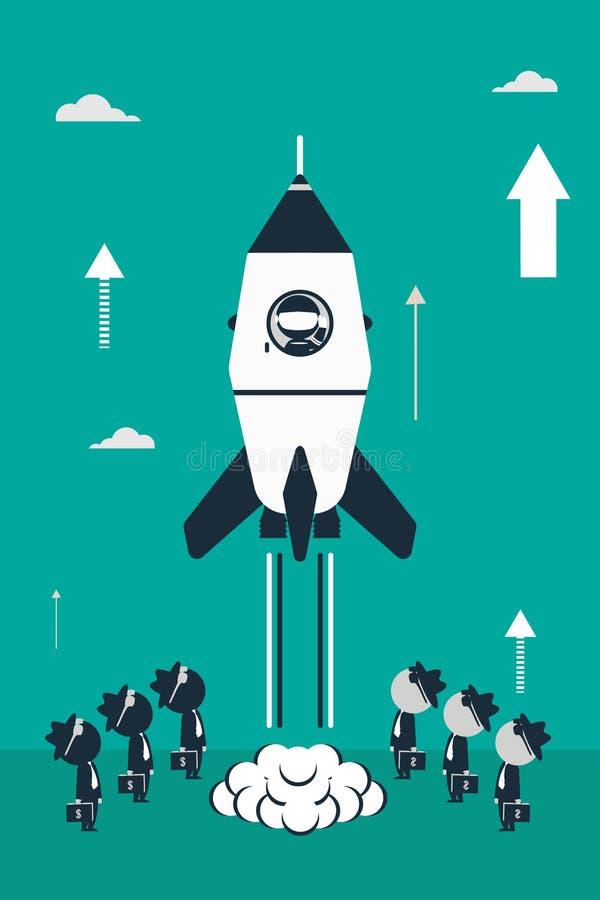 Ejemplo plano del diseño con el cohete, las figuras del astronauta del palillo y los inversores del negocio ilustración del vector
