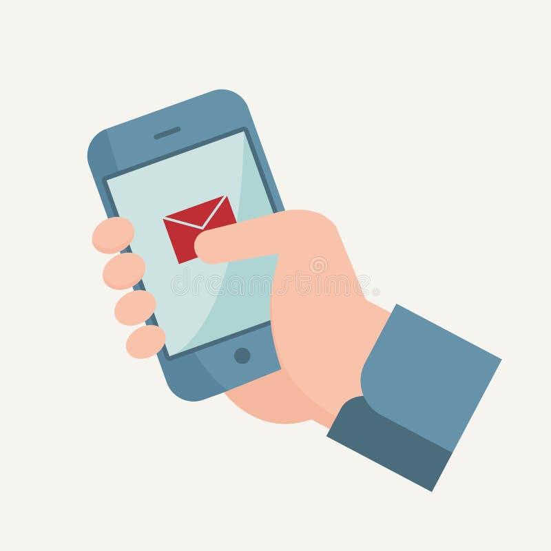 Ejemplo plano del diseño con la mano, el teléfono móvil y el email fotos de archivo