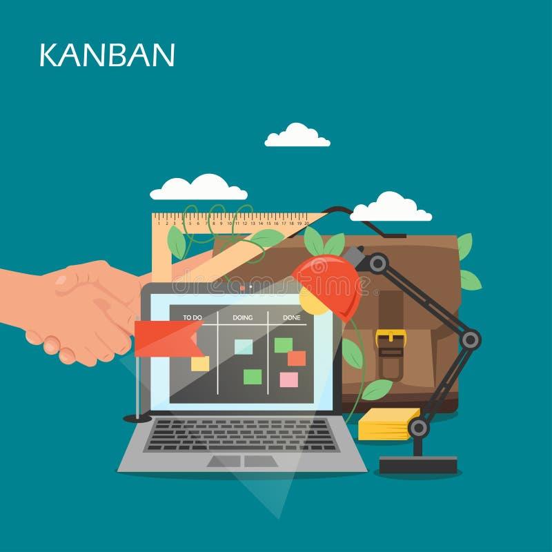 Ejemplo plano del diseño del estilo del vector del concepto de Kanban libre illustration