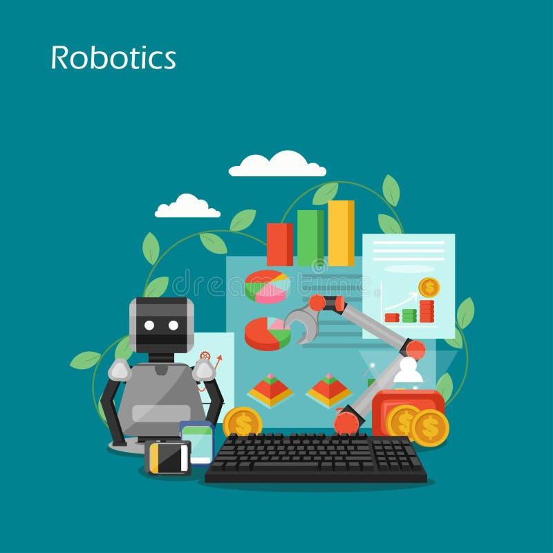 Ejemplo plano del diseño del estilo del vector del concepto de la robótica stock de ilustración
