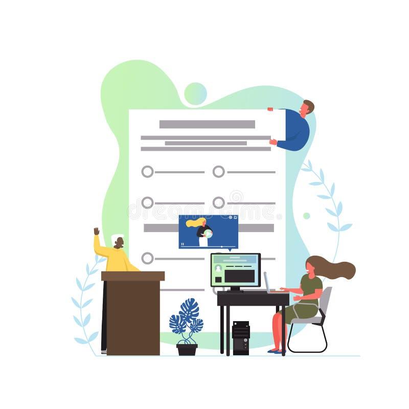 Ejemplo plano del diseño del estilo del vector del concepto del examen libre illustration