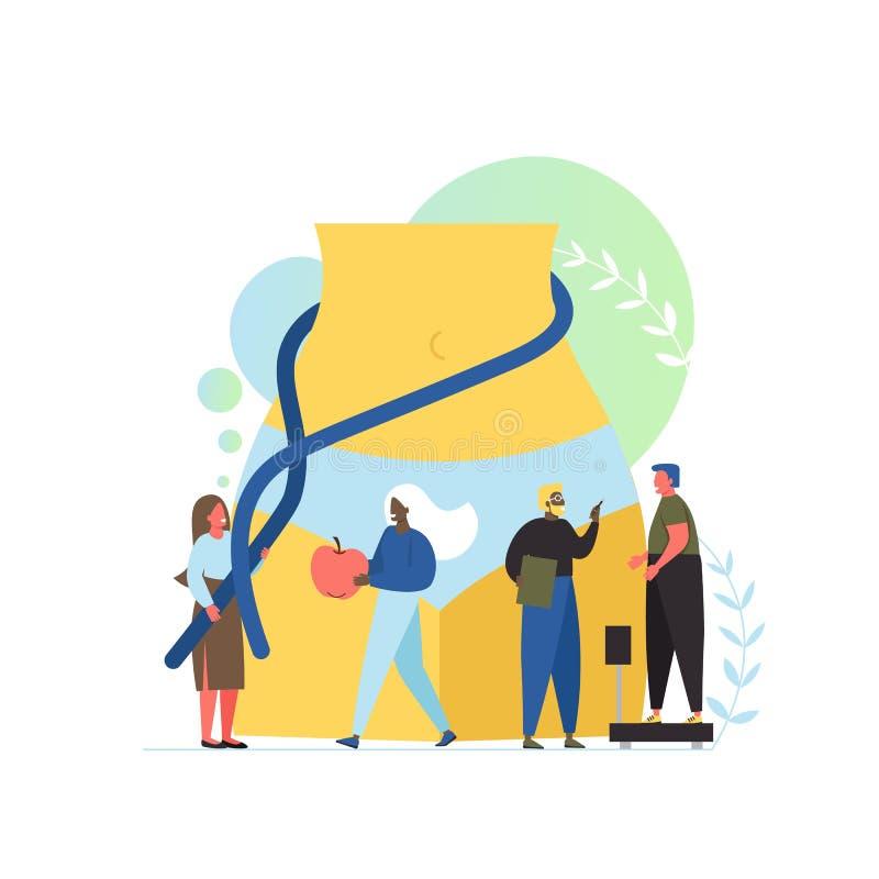 Ejemplo plano del diseño del estilo del vector del concepto del nutricionista libre illustration