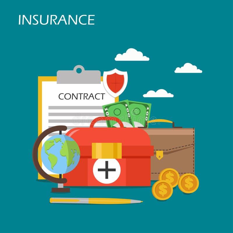 Ejemplo plano del diseño del estilo del vector del concepto del seguro stock de ilustración