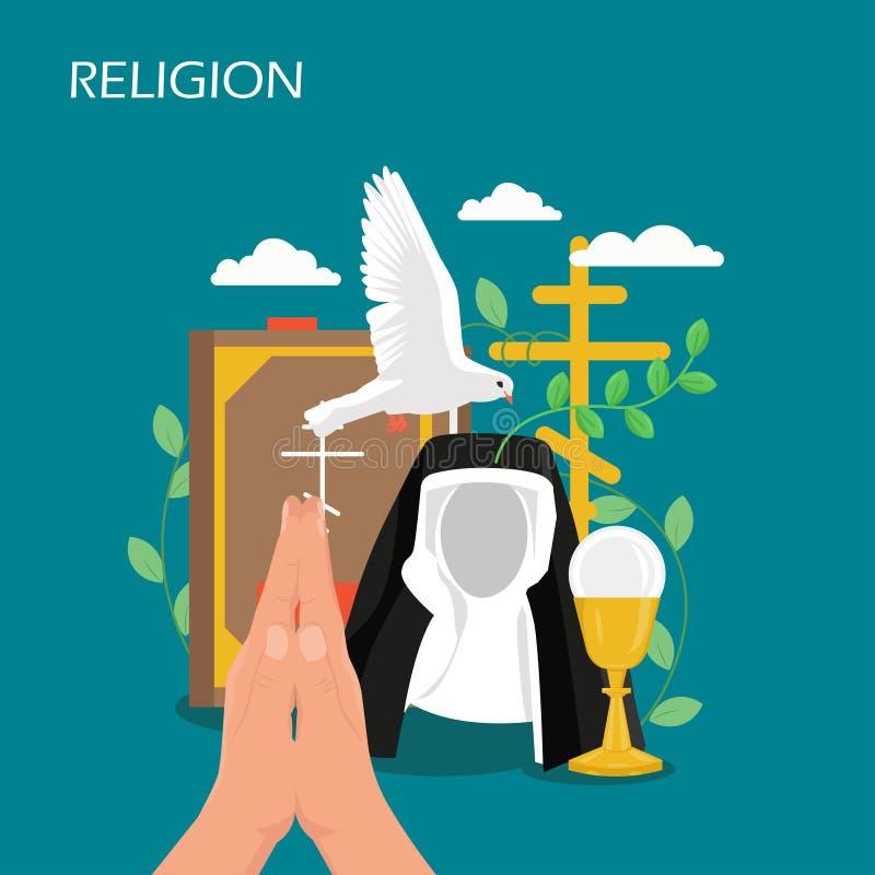 Ejemplo plano del diseño del estilo del vector de la religión del cristianismo stock de ilustración