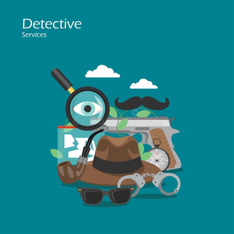 Ejemplo plano del diseño del estilo del vector detective de los servicios libre illustration
