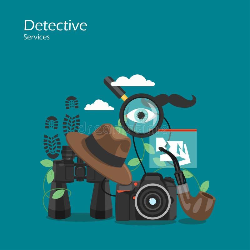 Ejemplo plano del diseño del estilo del vector detective de los servicios ilustración del vector
