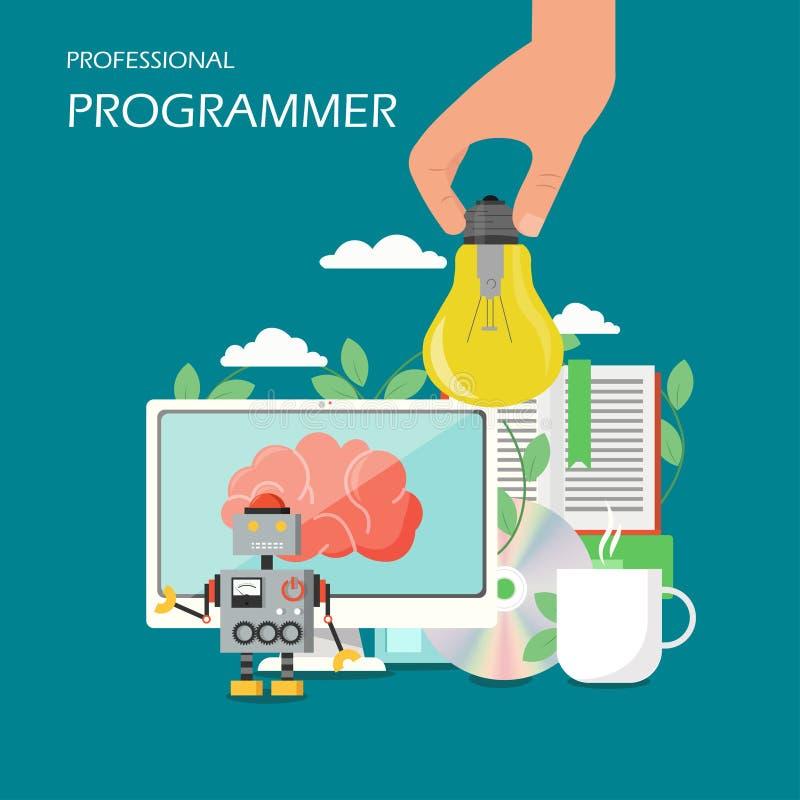 Ejemplo plano del diseño del estilo del vector del programador profesional stock de ilustración