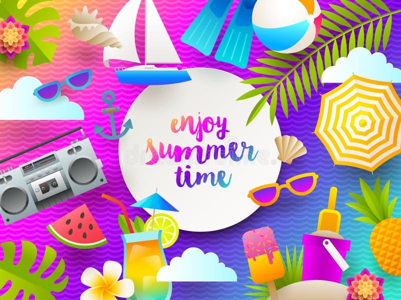 Ejemplo plano del diseño Vacaciones de verano y cosas y artículos de las vacaciones de la playa en un fondo brillante de la pendi ilustración del vector