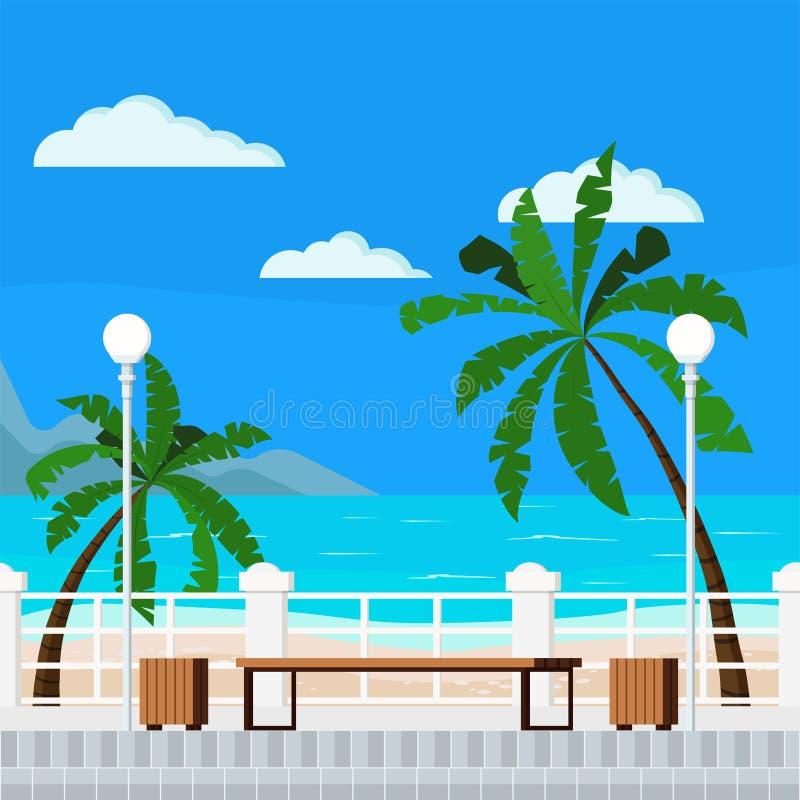 Ejemplo plano del estilo de la historieta del vector del mar azul con el fondo del verano de la playa ilustración del vector
