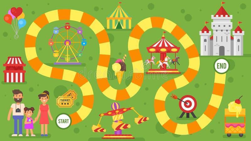 Ejemplo plano del estilo del juego de mesa del parque de atracciones de los niños ilustración del vector