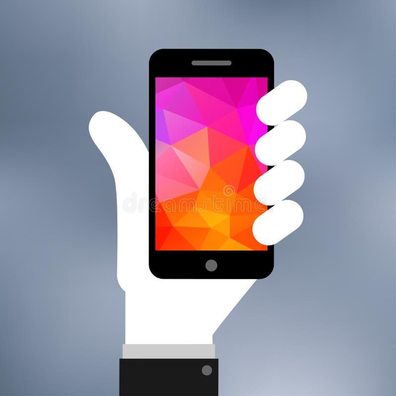 Ejemplo plano del icono de Smartphone a mano ilustración del vector