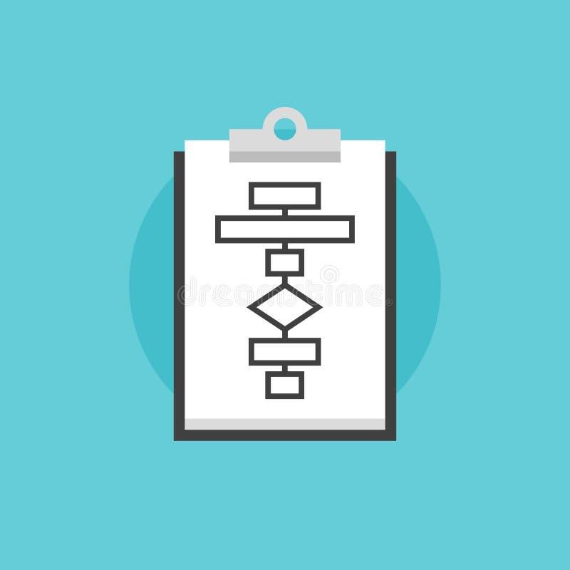 Ejemplo plano del icono del proceso del organigrama del negocio stock de ilustración