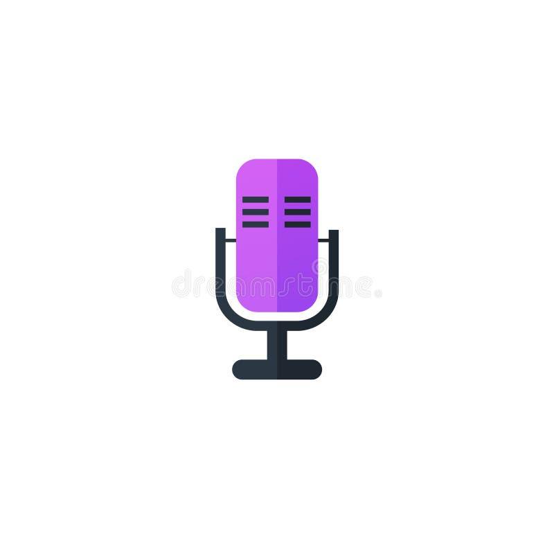 Ejemplo plano del icono del micrófono aislado en el fondo blanco stock de ilustración