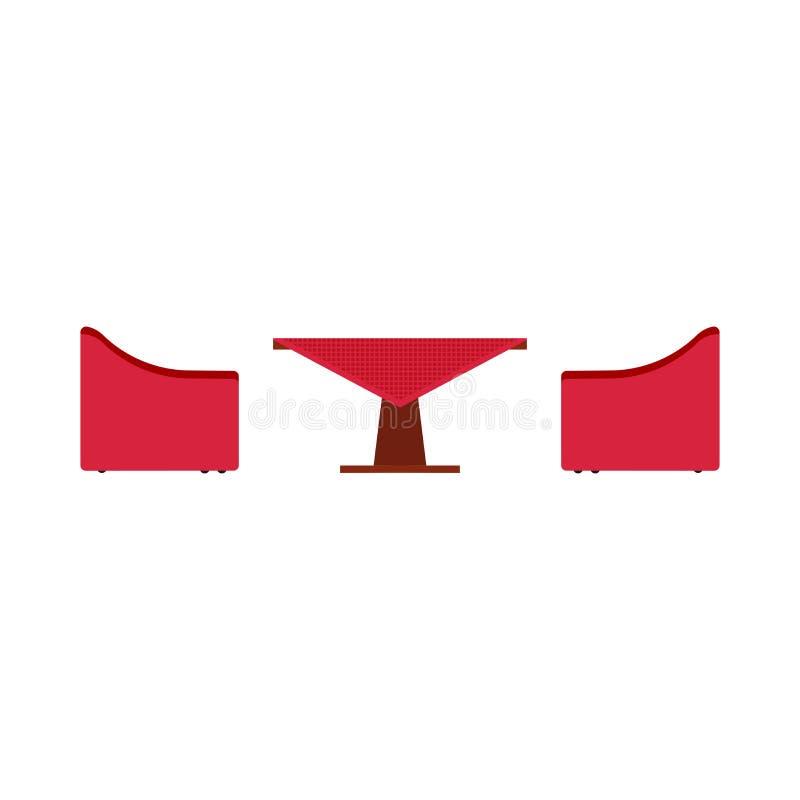 Ejemplo plano del icono del vector de la vista lateral de la tabla del caf? Muebles al aire libre de la cena de la comida de la h ilustración del vector