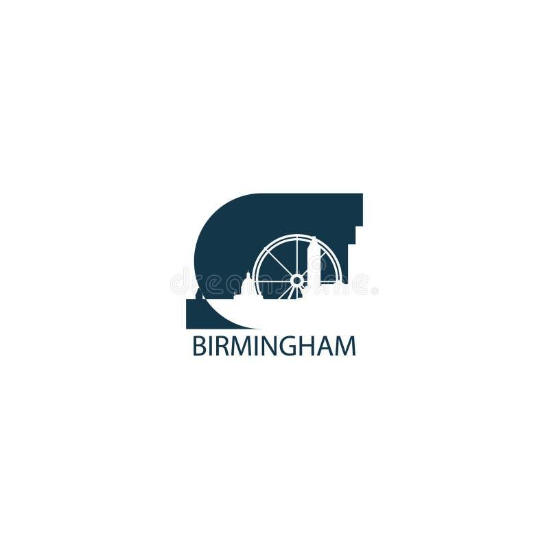 Ejemplo plano del logotipo del horizonte de la ciudad de Birmingham stock de ilustración
